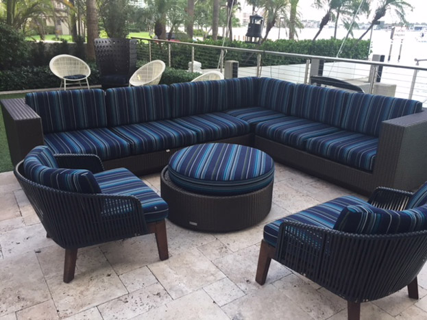 Ottoman and Sofas by Fernando's Upholstery & Design Workroom