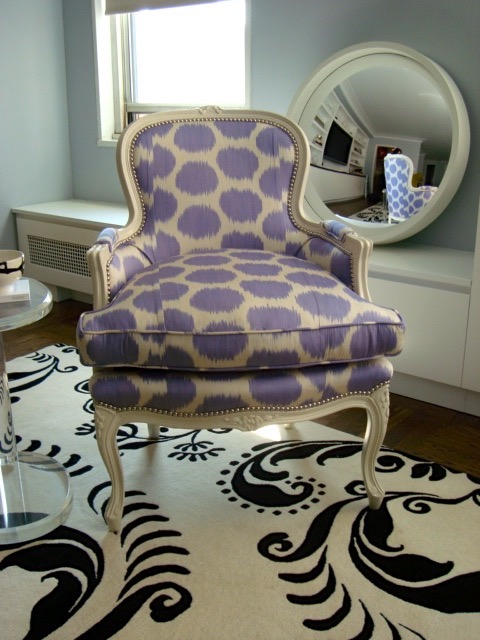 Purple Dotted Club Chair